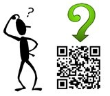 stick figure scratching his head with a question and a QR code for qrcodepress.com